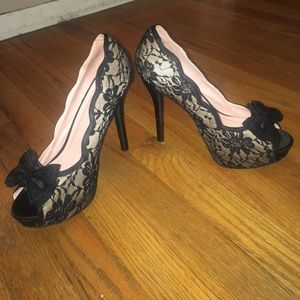 Pink and black lace peep toe stilettos, worn once
